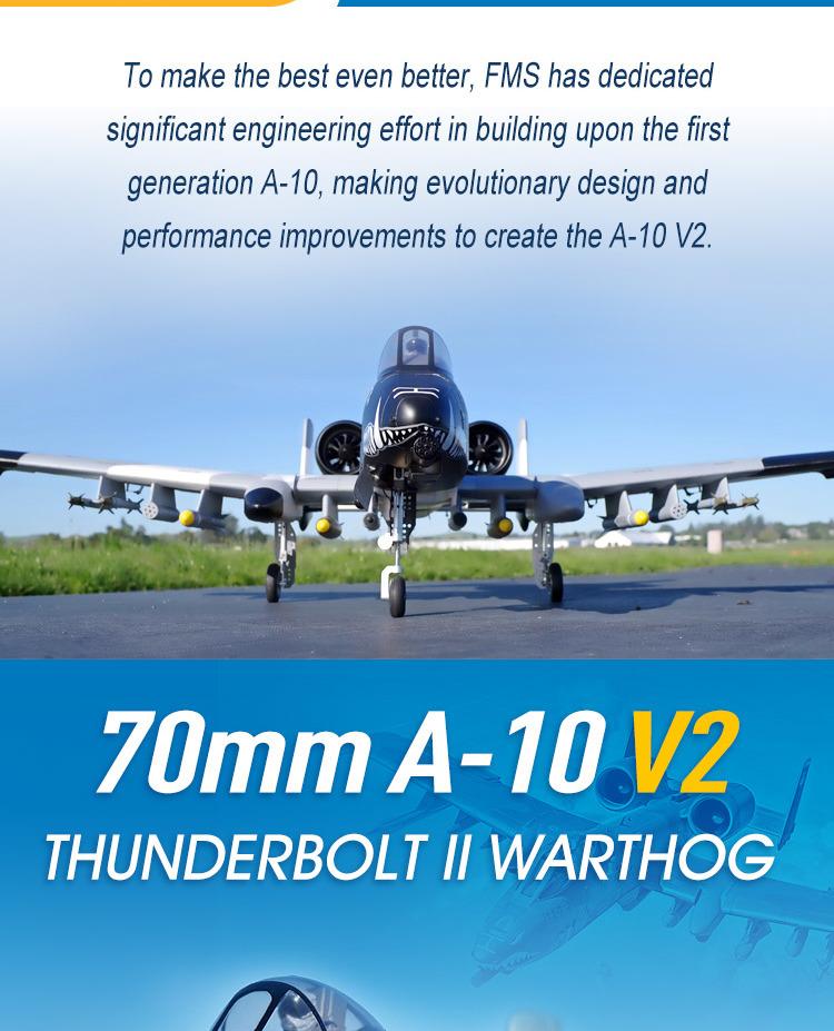 FMS A-10 Thunderbolt II V2 70mm EDF Jet PNP RC Airplane
